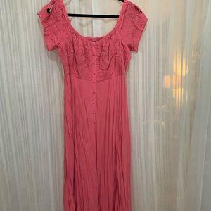 Floor length off the shoulder lace pattern dress